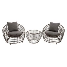 Metal 3 Piece Deep Seating Group with Cushion