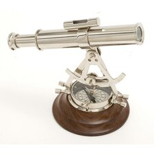 Decorative Brass Wood Alidade Compass and Decorative Telescope