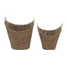 2 Piece Seagrass Metal Basket Set
