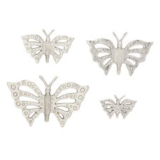 4 Piece Aluminum Butterfly Wall Decor Set