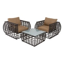 Outdoor 3 Piece Deep Seating Group with Cushions