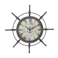 "Oversized 29"" Attractive Ship Wheel Wall Clock"