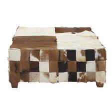 Wood Hide Square Ottoman