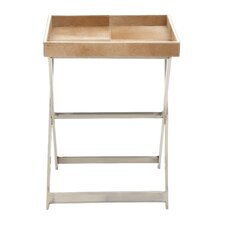Stainless Steel and Wood Hide Tray Table
