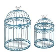 2 Piece Metal Bird Cage Set