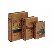 3 Piece Wood/Leather Book Box Set