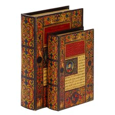 2 Piece Wood/Leather Book Box Set