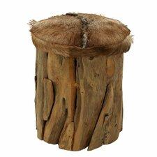 Wood Hide Leather Stool