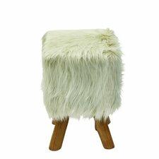 Wood/Faux Fur Square Stool