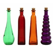 4 Piece Glass Stopper Decorative Bottle Set
