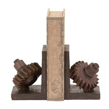 Polystone Gear Bookends (Set of 2)