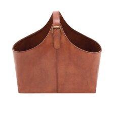 Wood and Leather Magazine Holder