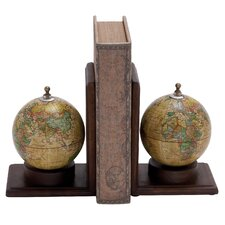 Wood and Metal Globe Book End