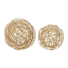 2 Piece Metal Wire Orb Decorative Ball Set