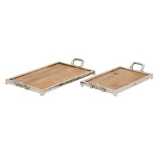 2 Piece Wood and Aluminum Tray Set