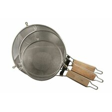 3 Piece Large Extra Fine Mesh Strainer Sifter Set