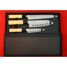 Pro Line 3 Piece Sushi Santoku Chef Knife Set