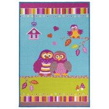 Kinderteppich Owl in Türkis