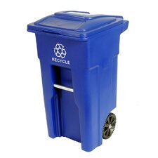 Residential Heavy Duty Two Wheeled Recycling Container Cart with Attached Lid