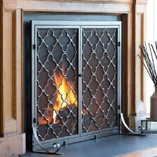 1 Panel Geometric Fireplace Screen