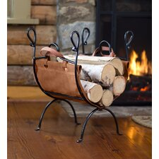 Folding Log Rack and Leather Firewood Sling