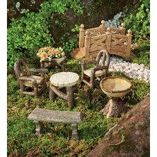 7 Piece Woodland Fairy Garden Resin Furniture Set