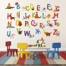 Repositionable 26 Alphabet Animals Wall Decal