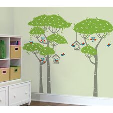 Birds Playing in The Forest Wall Decal