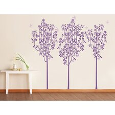 Flower Trees and Butterflies Wall Decal