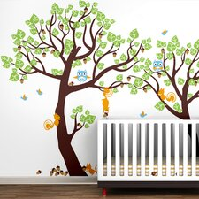 Lovely Pine Tree Baby Nursery Tree with Animals Wall Decal