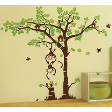 Playing Monkeys and Squirrel in The Grassland Wall Decal
