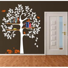 Shelving Tree with Squirrels Wall Decal