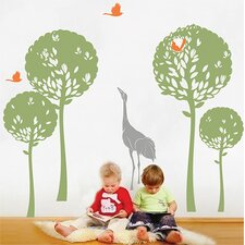 Playing Crane in The Tree Garden Wall Decal