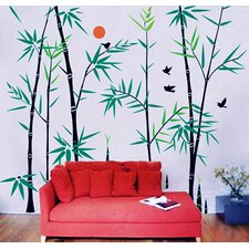 Bamboo Forest with Flying Birds Wall Decal