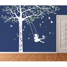 Tree with Swing Girl Wall Decal
