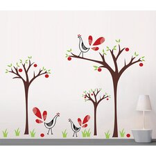 Peacock and Apple Trees Wall Decal