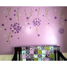 Flower Vines and Butterflies Wall Decal