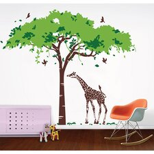Africa Tree and Giraffe Removable Vinyl Art Wall Decal