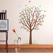 Flower Tree with Cute Owl Wall Decal