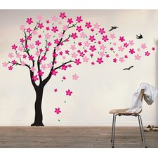 Drifting Flowers and Birds Tree Wall Decal
