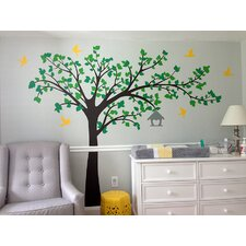 Big Tree with Love Flying Birds Right Leaning Tree Wall Decal