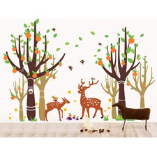 Tree Forest With Deer Wall Decal