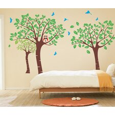 Tree Garden with Birds Wall Decal