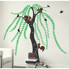 Big Willow and Squirrel Wall Decal