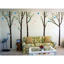 Tree Forest with Birds and Butterflies Wall Decal