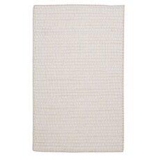Ticking Stripe Rect Canvas White Area Rug