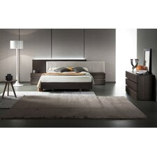 Edge Termotrattato Oak Upholstered Platform Bed