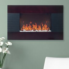 Mahogany Wood Trim Electric Fireplace