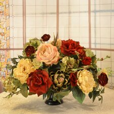 Silk Flower Centerpiece with Rose and Artichoke