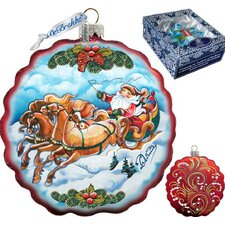 Holiday Sleigh Ride Flower Glass Ornament